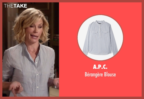 A.P.C. blue blouse from Modern Family seen with Claire Dunphy (Julie Bowen)