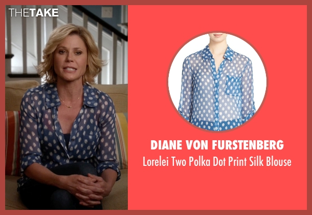 Diane Von Furstenberg blue blouse from Modern Family seen with Claire Dunphy (Julie Bowen)