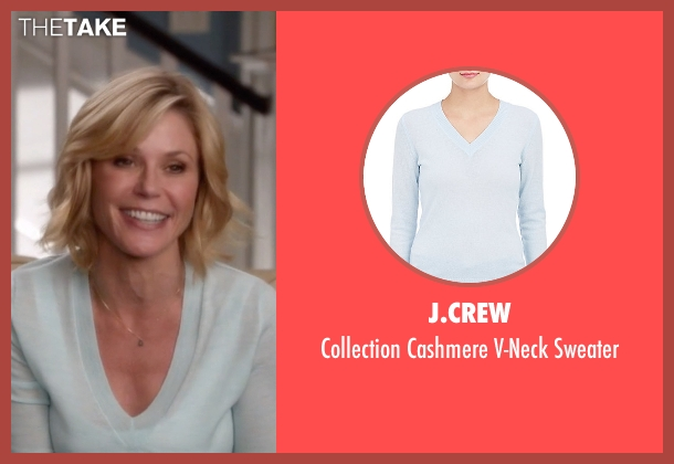 J.Crew blue sweater from Modern Family seen with Claire Dunphy (Julie Bowen)