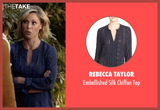 Rebecca Taylor blue top from Modern Family seen with Claire Dunphy (Julie Bowen)