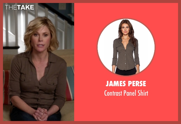 James Perse brown shirt from Modern Family seen with Claire Dunphy (Julie Bowen)