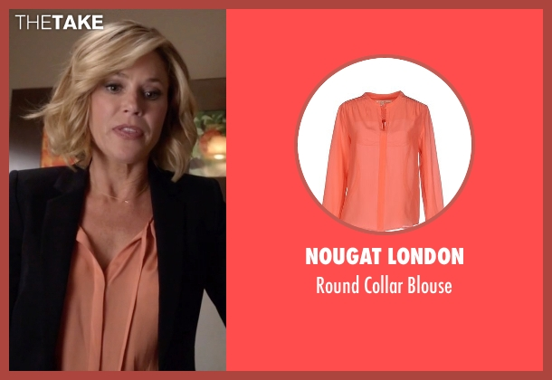 Nougat London orange blouse from Modern Family seen with Claire Dunphy (Julie Bowen)