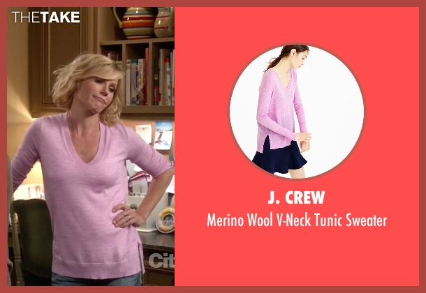 J. Crew pink sweater from Modern Family seen with Claire Dunphy (Julie Bowen)