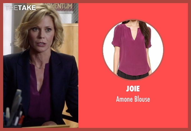 Joie purple blouse from Modern Family seen with Claire Dunphy (Julie Bowen)
