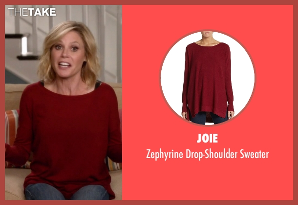 Joie  red sweater from Modern Family seen with Claire Dunphy (Julie Bowen)