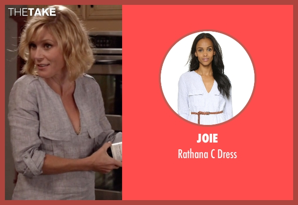 Joie white dress from Modern Family seen with Claire Dunphy (Julie Bowen)