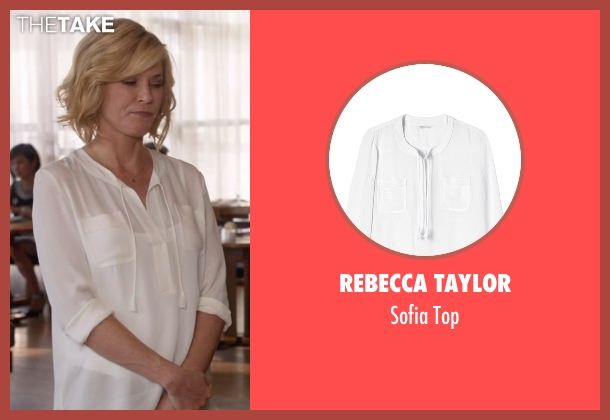 Rebecca Taylor white top from Modern Family seen with Claire Dunphy (Julie Bowen)