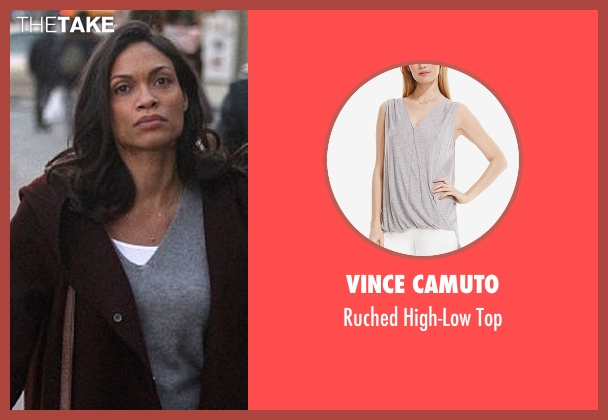 Vince Camuto gray top from Marvel's Luke Cage seen with Claire Temple (Rosario Dawson)