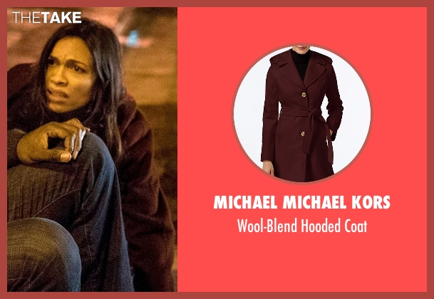 Michael Michael Kors red coat from Marvel's Luke Cage seen with Claire Temple (Rosario Dawson)