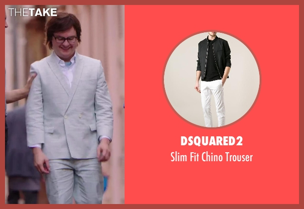 Dsquared2 white trouser from Hot Tub Time Machine 2 seen with Clark Duke (Jacob)