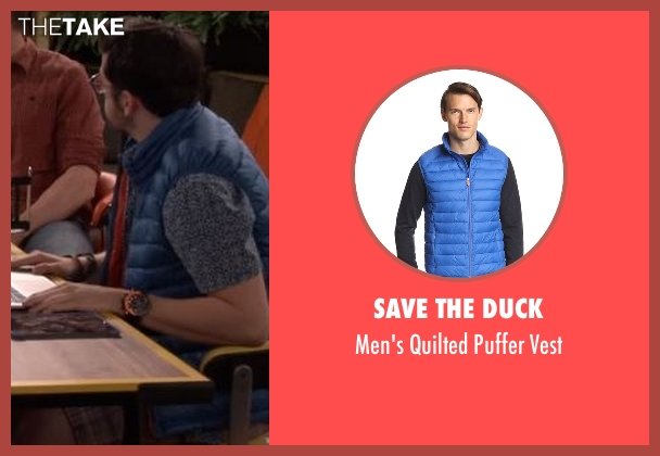 Save The Duck blue vest from The Great Indoors seen with Clark (Christopher Mintz-Plasse)