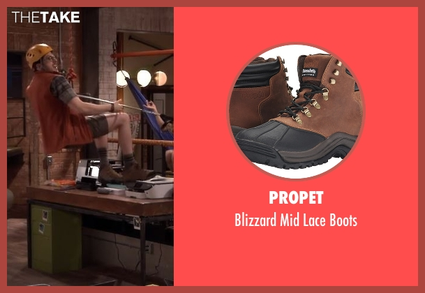 Propet brown boots from The Great Indoors seen with Clark (Christopher Mintz-Plasse)