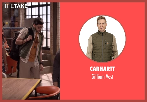Carhartt green vest from The Great Indoors seen with Clark (Christopher Mintz-Plasse)