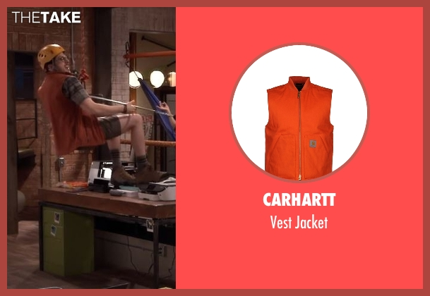 Carhartt orange jacket from The Great Indoors seen with Clark (Christopher Mintz-Plasse)