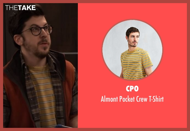 CPO yellow t-shirt from The Great Indoors seen with Clark (Christopher Mintz-Plasse)