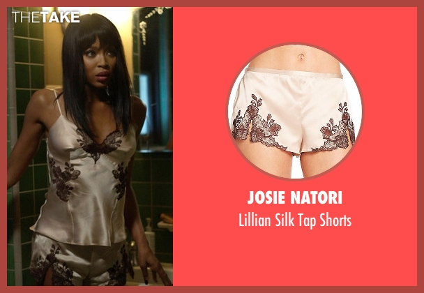 Josie Natori beige shorts from American Horror Story seen with Claudia Bankson (Naomi Campbell)