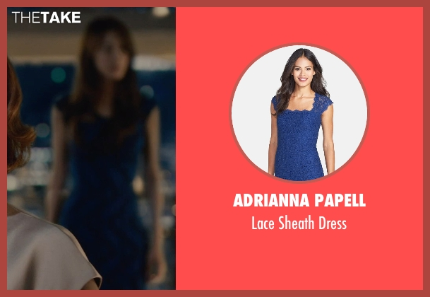 Adrianna Papell blue dress from Avengers: Age of Ultron seen with Claudia Kim (Dr. Helen Cho)
