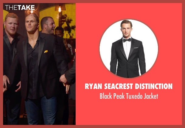 Ryan Seacrest Distinction black jacket from Pitch Perfect 2 seen with Clay Matthews (Football Player)