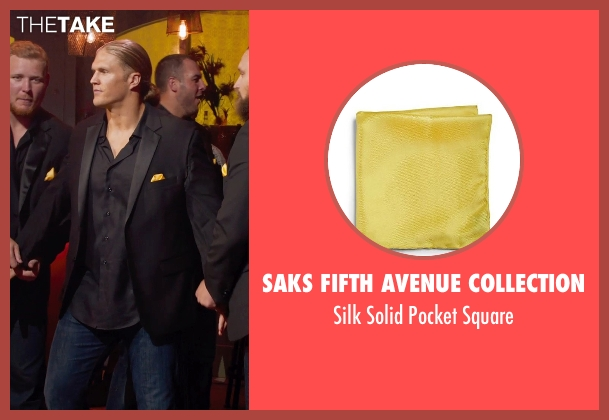 Saks Fifth Avenue Collection yellow square from Pitch Perfect 2 seen with Clay Matthews (Football Player)