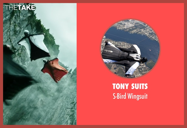 Tony Suits wingsuit from Point Break seen with Clemens Schick (Roach)