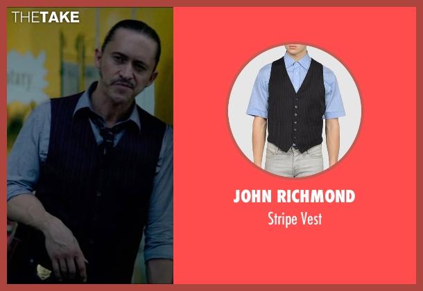 John Richmond black vest from Triple 9 seen with Clifton Collins Jr. (Jorge Rodriguez)
