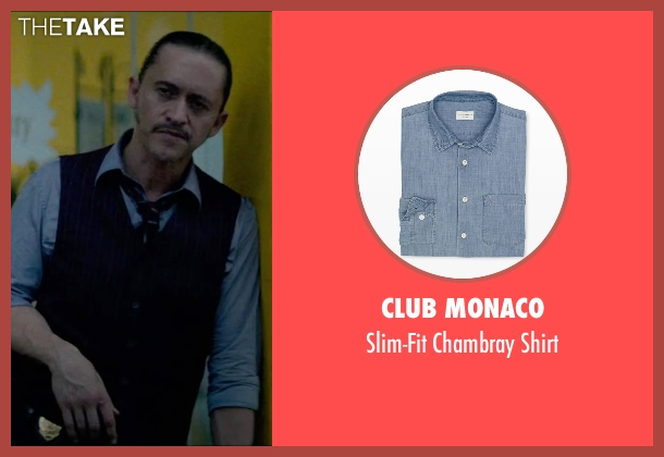 Club Monaco blue shirt from Triple 9 seen with Clifton Collins Jr. (Jorge Rodriguez)