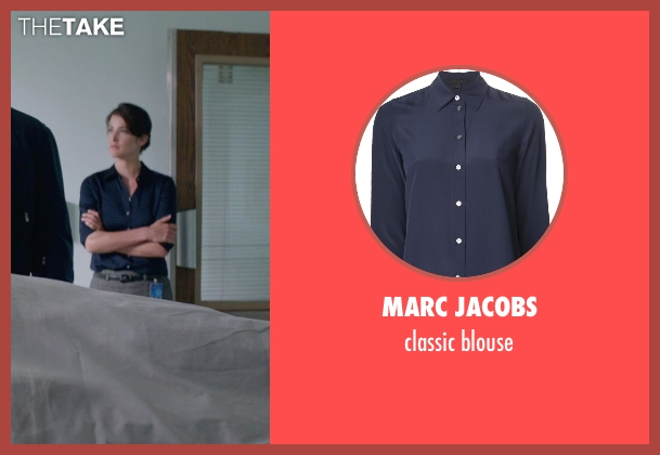 MARC JACOBS blue blouse from Captain America: The Winter Soldier seen with Cobie Smulders (Maria Hill)