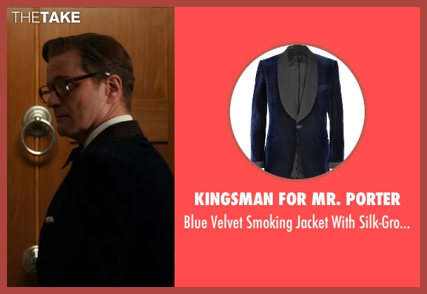 Kingsman for Mr. Porter blue shawl-collar from Kingsman: The Secret Service seen with Colin Firth (Harry Hart)