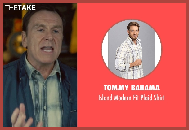 Tommy Bahama white shirt from Trainwreck seen with Colin Quinn (Gordon)