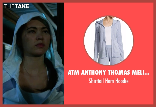 ATM Anthony Thomas Melillo blue hoodie from Marvel's Iron Fist seen with Colleen Wing (Jessica Henwick)