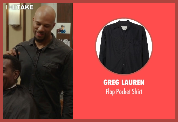 Greg Lauren black shirt from Barbershop: The Next Cut seen with Common (Rashad)