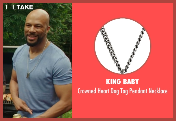 King Baby silver necklace from Barbershop: The Next Cut seen with Common (Rashad)