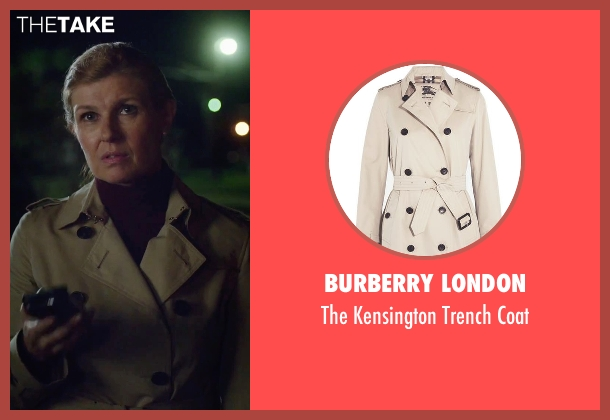 Burberry London beige coat from American Ultra seen with Connie Britton (Victoria Lasseter)