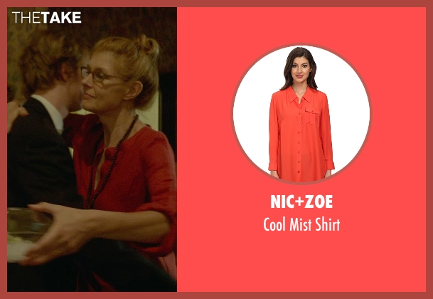 Nic+Zoe orange shirt from Me and Earl and the Dying Girl seen with Connie Britton (Greg's Mom)