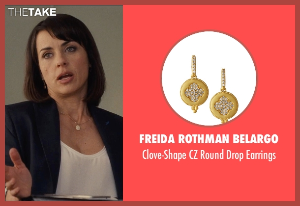 Freida Rothman Belargo gold earrings from Entourage seen with Constance Zimmer (Dana Gordon)