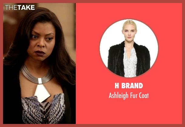 H Brand black coat from Empire seen with Cookie Lyon (Taraji P. Henson)