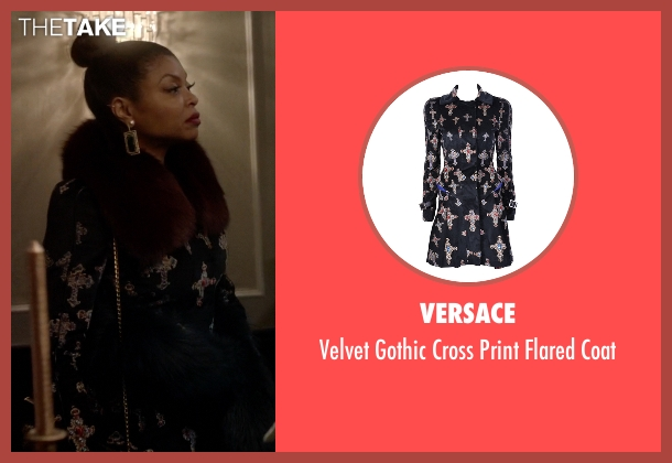 Versace black coat from Empire seen with Cookie Lyon (Taraji P. Henson)
