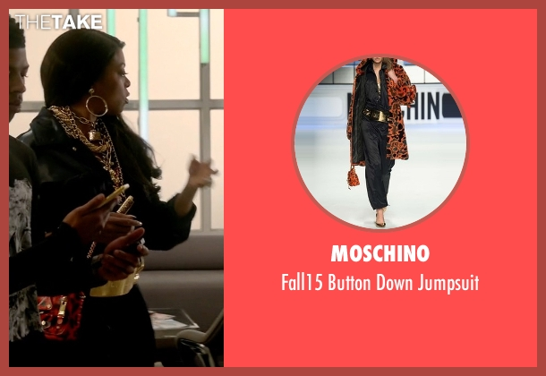 Moschino black jumpsuit from Empire seen with Cookie Lyon (Taraji P. Henson)