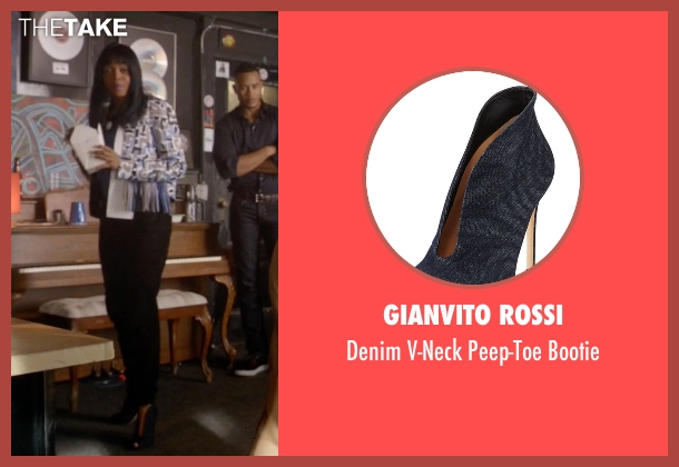 Gianvito Rossi blue bootie from Empire seen with Cookie Lyon (Taraji P. Henson)