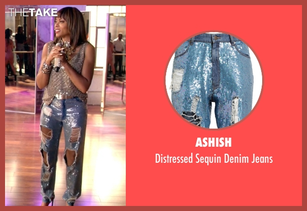 Ashish blue jeans from Empire seen with Cookie Lyon (Taraji P. Henson)