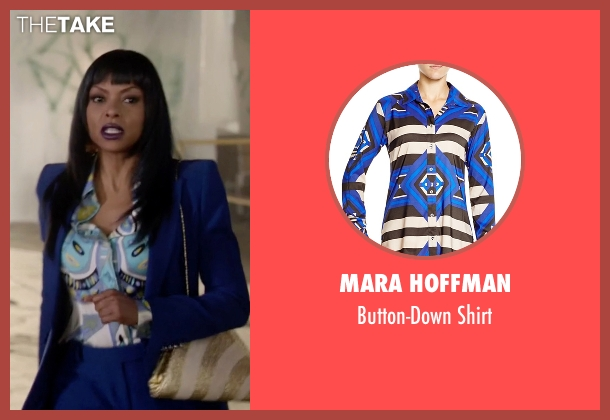 Mara Hoffman blue shirt from Empire seen with Cookie Lyon (Taraji P. Henson)