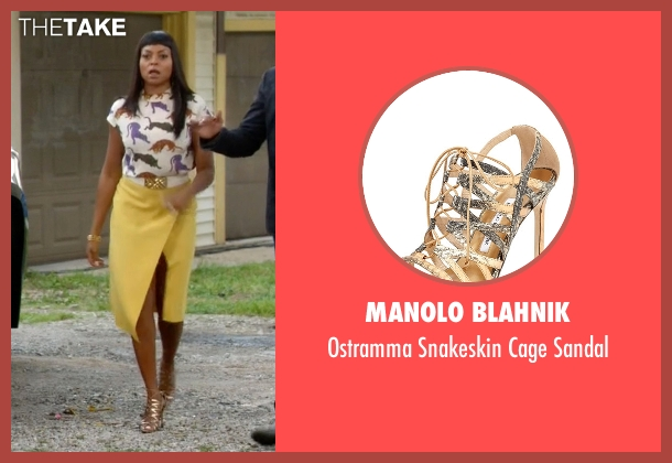 Manolo Blahnik	 gray sandal from Empire seen with Cookie Lyon (Taraji P. Henson)