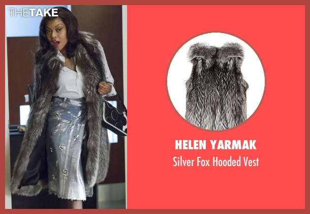 Helen Yarmak gray vest from Empire seen with Cookie Lyon (Taraji P. Henson)