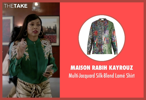 Maison Rabih Kayrouz green shirt from Empire seen with Cookie Lyon (Taraji P. Henson)