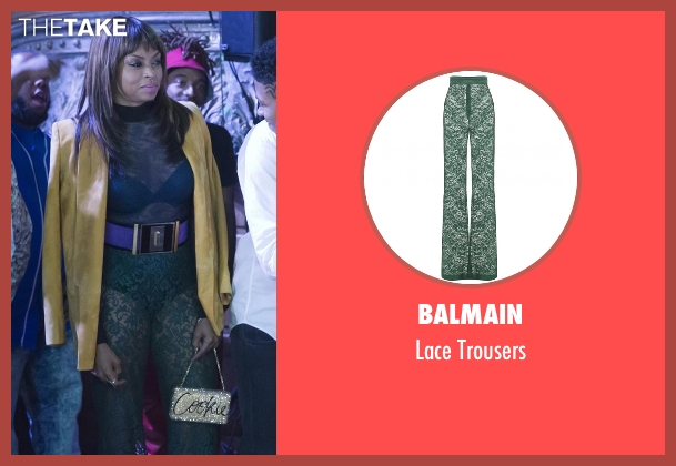 Balmain green trousers from Empire seen with Cookie Lyon (Taraji P. Henson)