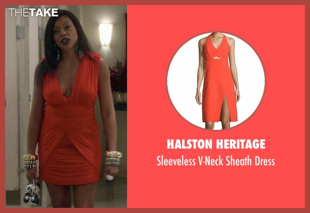 Halston Heritage orange dress from Empire seen with Cookie Lyon (Taraji P. Henson)