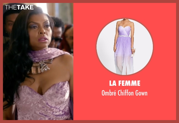 La Femme purple gown from Empire seen with Cookie Lyon (Taraji P. Henson)
