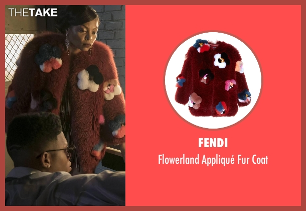 Fendi red coat from Empire seen with Cookie Lyon (Taraji P. Henson)
