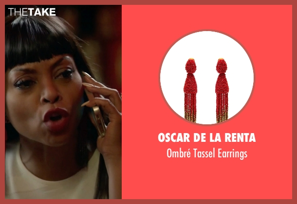 Oscar De La Renta red earrings from Empire seen with Cookie Lyon (Taraji P. Henson)