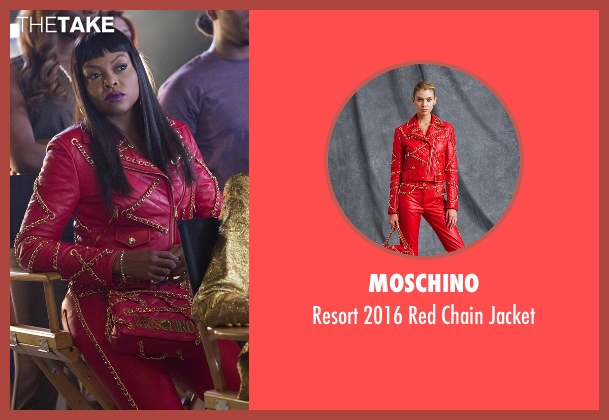 Moschino red jacket from Empire seen with Cookie Lyon (Taraji P. Henson)